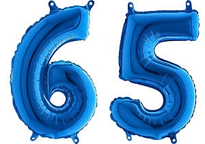 Luftballon Zahl 65 Zahlenballon blau (66 cm)