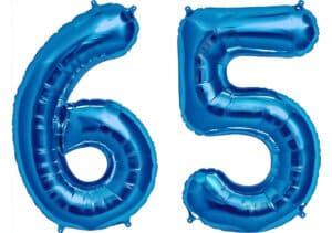 Luftballon Zahl 65 Zahlenballon blau (86 cm)