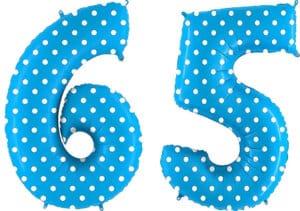 Luftballon Zahl 65 Zahlenballon blau mit weißen Punkten (100 cm)