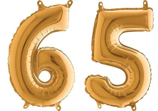 Luftballon Zahl 65 Zahlenballon gold (66 cm)