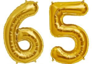 Luftballon Zahl 65 Zahlenballon gold (86 cm)