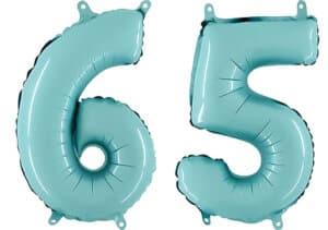 Luftballon Zahl 65 Zahlenballon pastell-blau (100 cm)