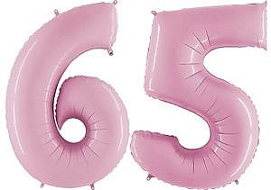 Luftballon Zahl 65 Zahlenballon pastell-pink (100 cm)