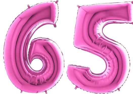 Luftballon Zahl 65 Zahlenballon pink (66 cm)