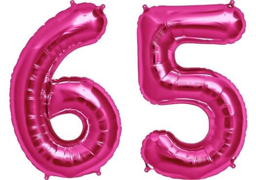 Luftballon Zahl 65 Zahlenballon pink (86 cm)