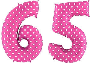 Luftballon Zahl 65 Zahlenballon pink mit weißen Punkten (100 cm)