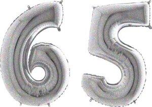 Luftballon Zahl 65 Zahlenballon silber-holographic (100 cm)