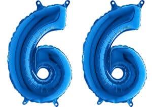 Luftballon Zahl 66 Zahlenballon blau (66 cm)