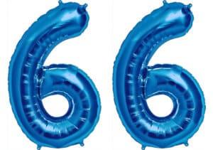 Luftballon Zahl 66 Zahlenballon blau (86 cm)