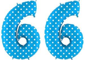 Luftballon Zahl 66 Zahlenballon blau mit weißen Punkten (100 cm)