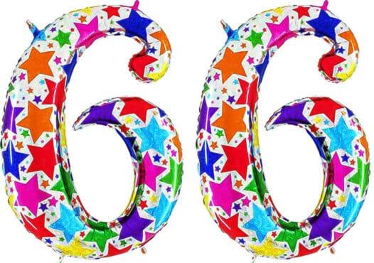 Luftballon Zahl 66 Zahlenballon silber mit bunten Sternen (100 cm)