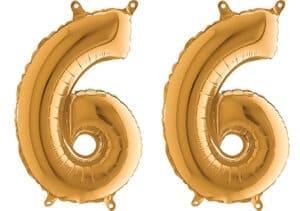Luftballon Zahl 66 Zahlenballon gold (66 cm)