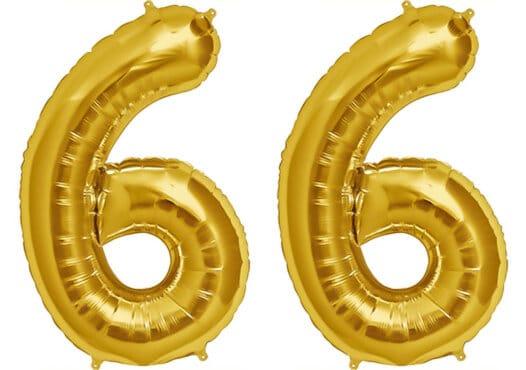 Luftballon Zahl 66 Zahlenballon gold (86 cm)
