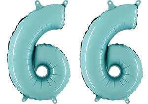 Luftballon Zahl 66 Zahlenballon pastell-blau (100 cm)