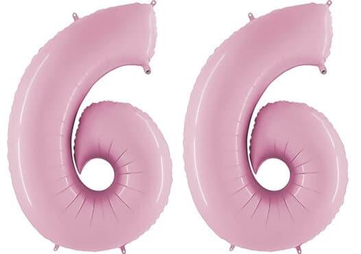 Luftballon Zahl 66 Zahlenballon pastell-pink (100 cm)