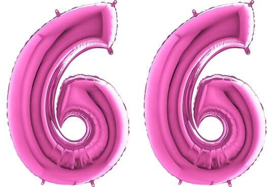 Luftballon Zahl 66 Zahlenballon pink (66 cm)