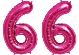 Luftballon Zahl 66 Zahlenballon pink (86 cm)