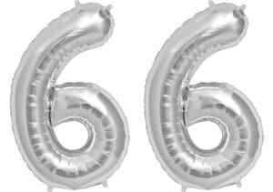 Luftballon Zahl 66 Zahlenballon silber (86 cm)