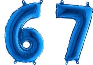 Luftballon Zahl 67 Zahlenballon blau (66 cm)