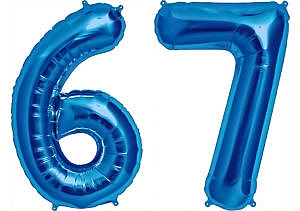 Luftballon Zahl 67 Zahlenballon blau (86 cm)