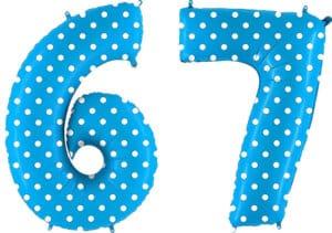 Luftballon Zahl 67 Zahlenballon blau mit weißen Punkten (100 cm)