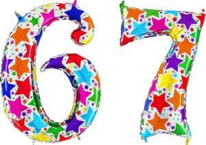 Luftballon Zahl 67 Zahlenballon silber mit bunten Sternen (100 cm)