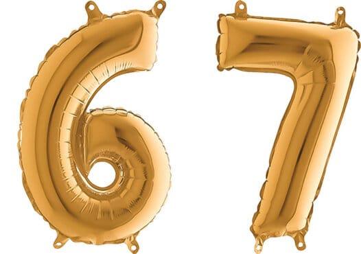 Luftballon Zahl 67 Zahlenballon gold (66 cm)
