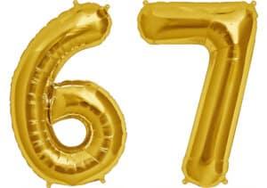 Luftballon Zahl 67 Zahlenballon gold (86 cm)