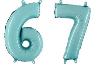 Luftballon Zahl 67 Zahlenballon pastell-blau (100 cm)