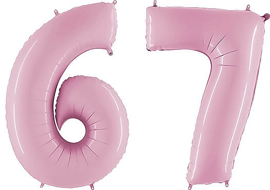 Luftballon Zahl 67 Zahlenballon pastell-pink (100 cm)