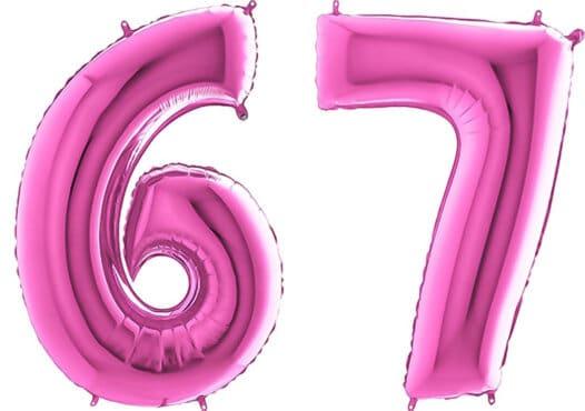Luftballon Zahl 67 Zahlenballon pink (66 cm)