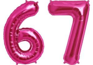 Luftballon Zahl 67 Zahlenballon pink (86 cm)