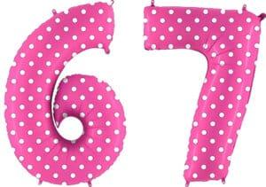 Luftballon Zahl 67 Zahlenballon pink mit weißen Punkten (100 cm)
