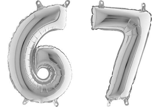 Luftballon Zahl 67 Zahlenballon silber (66 cm)