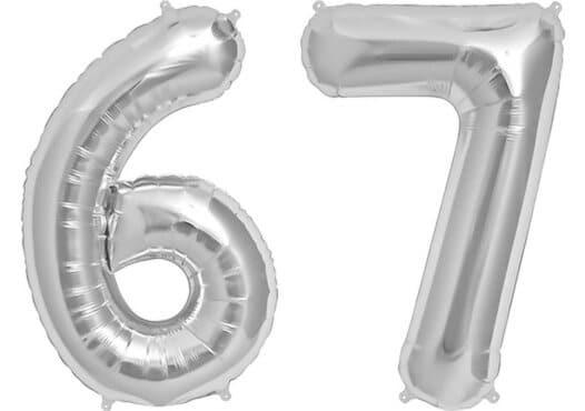 Luftballon Zahl 67 Zahlenballon silber (86 cm)