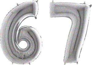 Luftballon Zahl 67 Zahlenballon silber-holographic (100 cm)