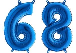 Luftballon Zahl 68 Zahlenballon blau (66 cm)