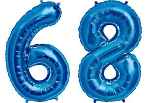 Luftballon Zahl 68 Zahlenballon blau (86 cm)