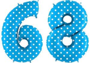 Luftballon Zahl 68 Zahlenballon blau mit weißen Punkten (100 cm)