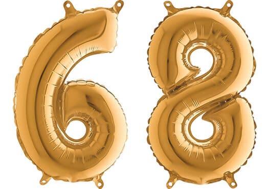 Luftballon Zahl 68 Zahlenballon gold (66 cm)