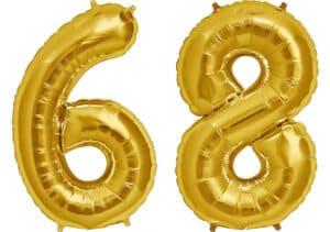 Luftballon Zahl 68 Zahlenballon gold (86 cm)