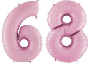 Luftballon Zahl 68 Zahlenballon pastell-pink (100 cm)