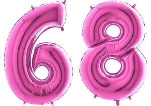 Luftballon Zahl 68 Zahlenballon pink (66 cm)