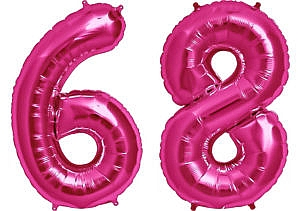 Luftballon Zahl 68 Zahlenballon pink (86 cm)