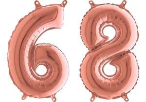 Luftballon Zahl 68 Zahlenballon rosegold (66 cm)