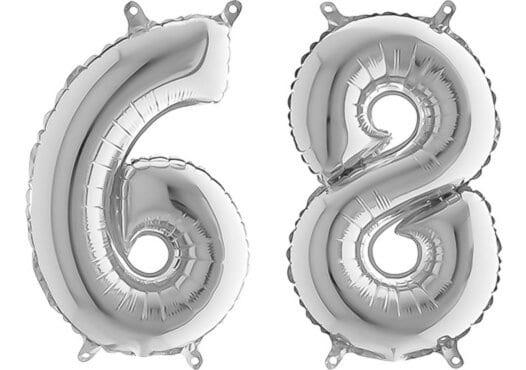 Luftballon Zahl 68 Zahlenballon silber (66 cm)