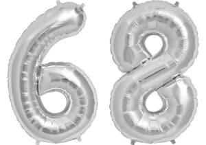 Luftballon Zahl 68 Zahlenballon silber (86 cm)