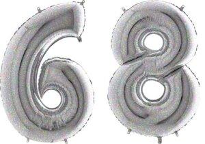 Luftballon Zahl 68 Zahlenballon silber-holographic (100 cm)