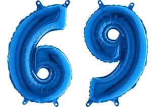 Luftballon Zahl 69 Zahlenballon blau (66 cm)
