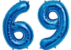 Luftballon Zahl 69 Zahlenballon blau (86 cm)